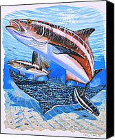 Whale Painting Canvas Prints - Cobia on Rays Canvas Print by Carey Chen