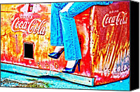 Blue Jeans Canvas Prints - Coca-Cola and Stiletto Heels Canvas Print by Toni Hopper