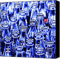 Soda Canvas Prints - Coca-Cola Coke Bottles - Return For Refund - Square - Painterly - Blue Canvas Print by Wingsdomain Art and Photography