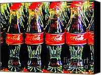 Bottles Canvas Prints - Coca Cola Coke Bottles Canvas Print by Wingsdomain Art and Photography