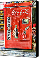 Red And White Canvas Prints - Coca-Cola retro style Canvas Print by Paul Ward