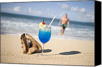 St George Canvas Prints - Cocktail And Shell On Beach Near Maca Bana Villas, Point Salines, St George, Grenada, Central America & The Caribbean Canvas Print by Holger Leue