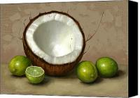 Lime Painting Canvas Prints - Coconut and Key Limes Canvas Print by Clinton Hobart