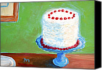Cake-stand Canvas Prints - Coconut Cake Canvas Print by Marianne Beukema