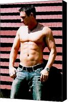 Fitness Ball Canvas Prints - Cody Male Fitness Model Canvas Print by Jake Hartz