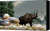 Ice Age Canvas Prints - Coelodonta Antiquitatis Canvas Print by Daniel Eskridge
