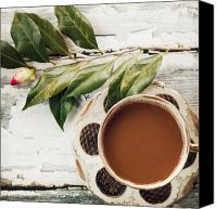 Camellia Canvas Prints - Coffee and Camellia Canvas Print by Kim Fearheiley
