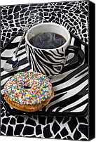 Spoon Canvas Prints - Coffee and donut on striped plate Canvas Print by Garry Gay