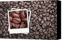 Latte Canvas Prints - Coffee beans polaroid Canvas Print by Jane Rix