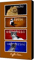 Tabby Painting Canvas Prints - Coffee Cats... Canvas Print by Will Bullas