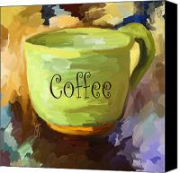 Hot Painting Canvas Prints - Coffee Cup Canvas Print by Jai Johnson