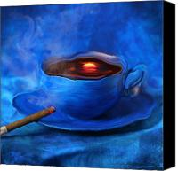 Sunset Digital Art Canvas Prints - Coffee for Mister Klein Canvas Print by Floriana Barbu