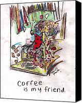 Critters Mixed Media Canvas Prints - Coffee is my friend Canvas Print by David Peace