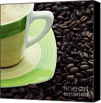 Coffee Cup Canvas Prints - Coffee Canvas Print by Kristin Kreet