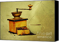 Antiques Digital Art Canvas Prints - Coffee Mill And Cup Of Hot Black Coffee Canvas Print by Michal Boubin