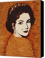 Elizabeth Taylor Canvas Prints - Coffee Painting Elizabeth Taylor Canvas Print by Georgeta  Blanaru