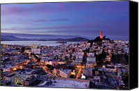 San Francisco Photo Canvas Prints - Coit Tower And North Beach At Dusk Canvas Print by Photo by Brandon Doran