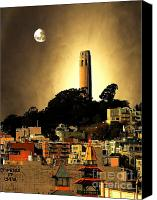 Landmarks Mixed Media Canvas Prints - Coit Tower and The Empress of China Under The Golden Moonlight Canvas Print by Wingsdomain Art and Photography