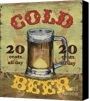Brown Painting Canvas Prints - Cold Beer Canvas Print by Debbie DeWitt