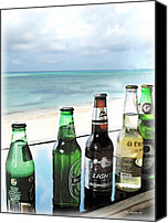 Bottle Caps Canvas Prints - Cold Beers in Paradise Canvas Print by Joan  Minchak