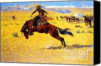 Remington Canvas Prints - Cold Morning on the Range Canvas Print by Pg Reproductions