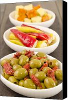 Wooden Bowls Canvas Prints - Cold Tapas - Spanish style antipasti. Canvas Print by Paul Brighton
