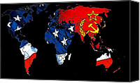 Map Art Canvas Prints - Cold War Map Canvas Print by Stefan Kuhn