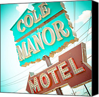 Cole Canvas Prints - Cole Manor Motel Canvas Print by David Waldo