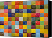 Quilt Blue Blocks Canvas Prints - Collage Color Study 108 Canvas Print by Michelle Calkins