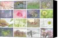 Flower Design Canvas Prints - Collage of seasonal images with vintage look Canvas Print by Sandra Cunningham
