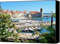 Ports Canvas Prints - Collioure from Knights of Templar Castle Canvas Print by Marilyn Dunlap