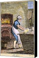 Colonial Kitchen Canvas Prints - COLONIAL BAKER, 18th C Canvas Print by Granger