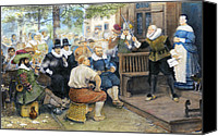 William Drawings Canvas Prints - Colonial Smoking Protest Canvas Print by Granger