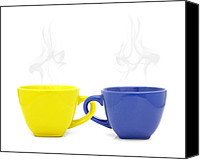 White Ceramics Canvas Prints - Color cup with hot drink on white background Canvas Print by Natthawut Punyosaeng