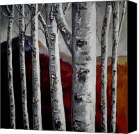 Birch Mixed Media Canvas Prints - Color in the Woods Canvas Print by Vickie Warner