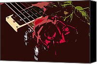 Combo Canvas Prints - Color red rose and Guitar Canvas Print by M K  Miller