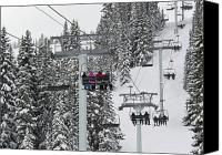 Snowboard Canvas Prints - Colorado Chair Lift during Winter Canvas Print by Brendan Reals
