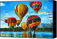 Freedom Mixed Media Canvas Prints - Colorado Springs Hot Air Balloons Canvas Print by Nikki Marie Smith