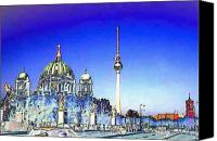 Berlin Canvas Prints - Colored Berlin 4 Canvas Print by Navo Art