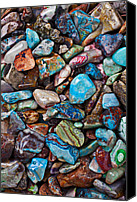 Turquoise Canvas Prints - Colored Polished Stones Canvas Print by Garry Gay