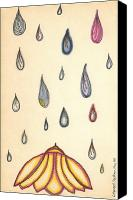 Freehand Drawing Canvas Prints - Colored Rain Canvas Print by Katherine Stockham