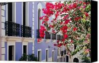 Old San Juan Canvas Prints - Colorful Balconies of Old San Juan Puerto Rico Canvas Print by George Oze