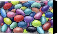 Holiday Drawings Canvas Prints - Colorful Beans Canvas Print by Nancy Mueller