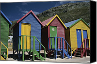 Chromatic Contrasts Canvas Prints - Colorful Changing Huts Line A South Canvas Print by Tino Soriano