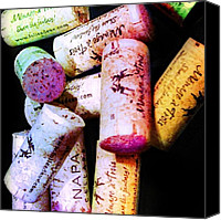 Corks Canvas Prints - Colorful Corks Canvas Print by Cynthia Edwards