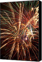 Works Canvas Prints - Colorful Fireworks Canvas Print by Garry Gay