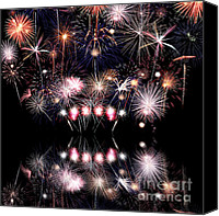 July Fourth Canvas Prints - Colorful Fireworks with Reflection Canvas Print by Stephanie Frey