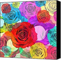 Rose Digital Art Canvas Prints - Colorful Floral Design  Canvas Print by Setsiri Silapasuwanchai