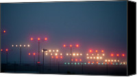 Guidance Canvas Prints - Colorful Fogbound Landing Lights Guide Airplanes Canvas Print by John K. Goodman