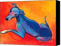 Drawings Canvas Prints - Colorful Greyhound Whippet dog painting Canvas Print by Svetlana Novikova